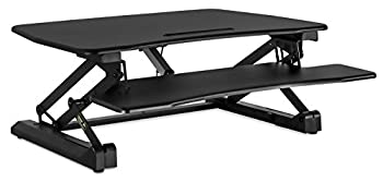Mount-It! Electric Standing Desk Converter, Motorized Sit Stand Workstation, Ergonomic Height Adjustable Tabletop Desk, Black