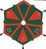 54'' Quilted Christmas Tree Skirt, CHRISTMAS BIRDS, Embroidery, Velvet, Tassels