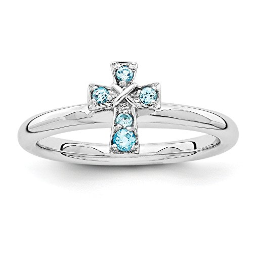 Sterling Silver Stackable Expressions Rhodium Blue Topaz Cross Ring from Jewels By Lux