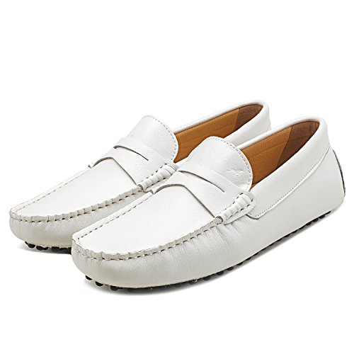 Cuero para Zapatos D7152 de Mocasines Cordones sin Suave Shenduo Hombre Cómodos Blanco Casuales Hombre qXxvTwRS