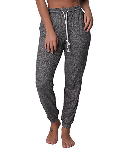 SUNNYME Women's Sweatpants Joggers Pants Drawstring Slim Fit Trousers with Pockets Dark Grey S]()