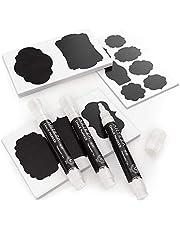 ARTEZA 150 stickers ardoise + 3 marqueurs blancs craies tableau noir | Stickers cuisine pour bocal en verre | Étiquettes autocollantes imperméables noires |Marqueurs craie blanche