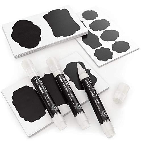 ARTEZA 150 Chalkboard Labels + 3 White Chalk Markers - Removable Chalk Labels for Jars - Waterproof Mason Jar Stickers