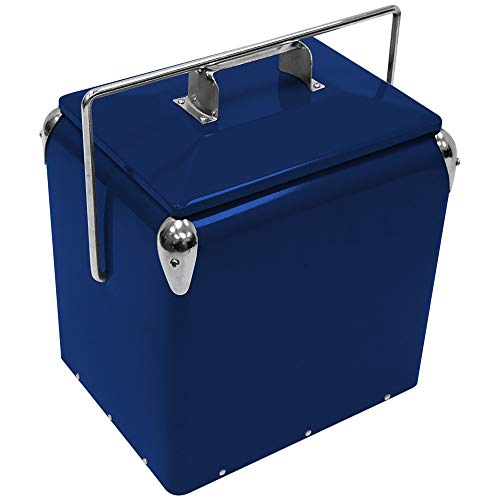 (Creative Outdoor Stainless Steel Legacy Cooler w/Built-in Bottle Opener, Insulated Ice Chest w/Vintage-Inspired Design, Blue)