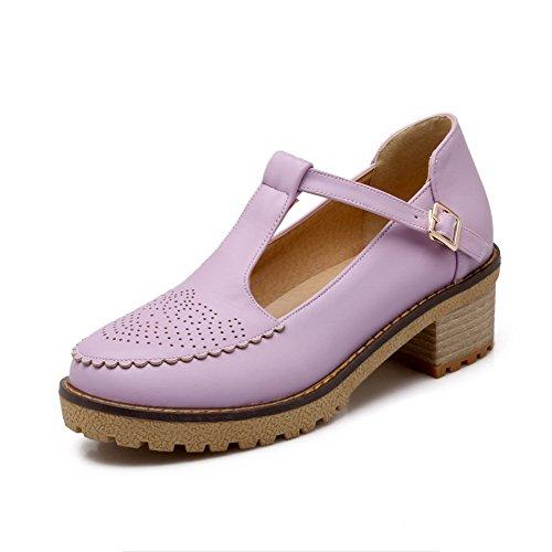 Amoonyfashion Dameskatje Hakken Zacht Materiaal Stevige Gesp Ronde Gesloten Teen Pumps-schoenen Paars