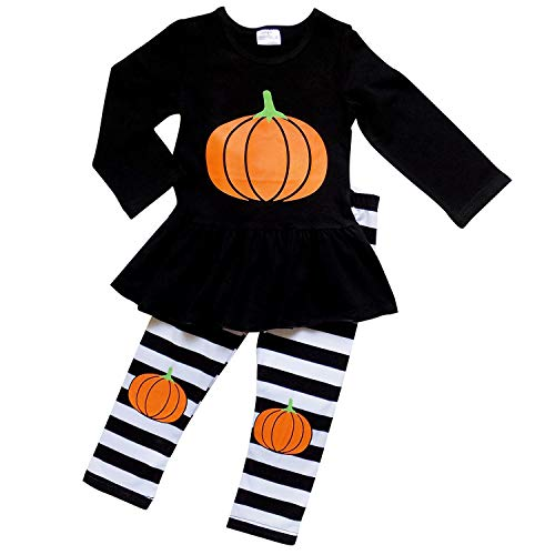 So Sydney Girls Halloween Pumpkin, Candy, or Cat - 2 Piece Ruffle Pants Outfit (L (5), Pumpkin Black Stripe) ()