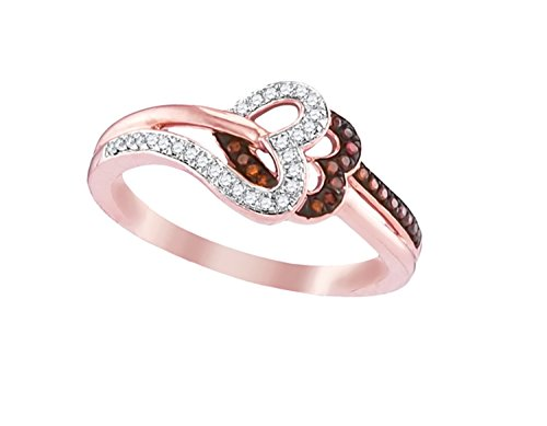 - Brandy Diamond Dark Chocolate Brown 10k Rose Gold Double Heart Lovely Ring 1/6 Ctw.
