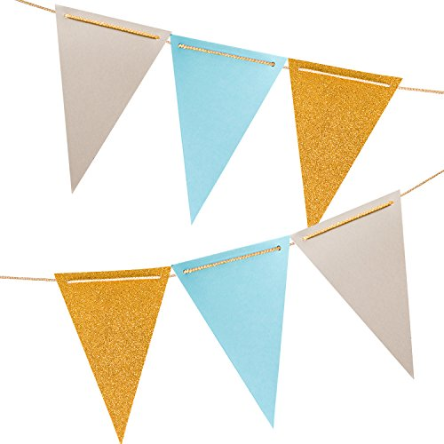 10 Feet Triangle Pennant Party Banner, Triangle Flags Bunting, Paper Triangle Garland for Wedding Decor, Nursery Wall Decor, Baby Shower, Bridal Shower (Gold Glitter, Gray, Aqua Blue), 18PCS Flags