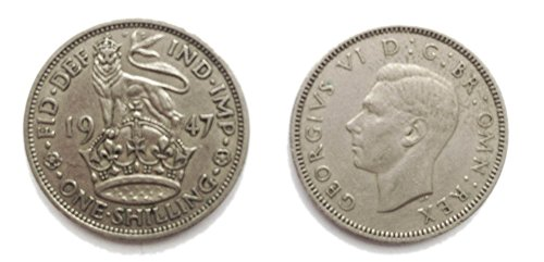 Coins for collectors - Circulated 1947 English Shilling Coin / Great Britain