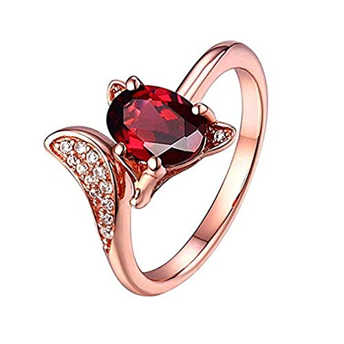 Windoson Jewelry Gifts for Women Pomegranate Ruby Ring Fashionable Rose Gold Animal Modeling Charm Ring (Rose Gold)