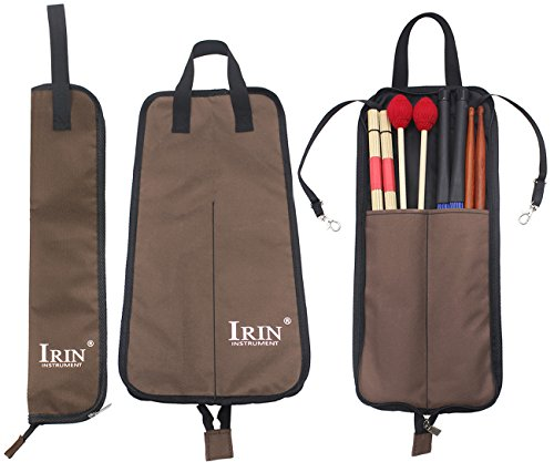 Drumstick Bag Case, Buytra Drum Stick Holder Percussion Drum Mallet Bag with Floor Tom Hooks, Coffee