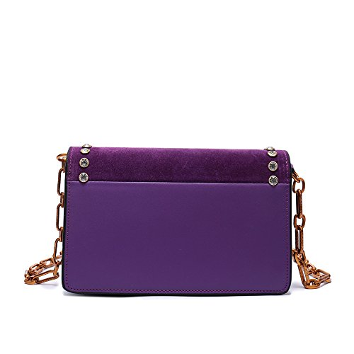 Satchel Bee Studded Messenger Crossbody Skin Tote Purple Bag Mini Handbags Women Leather Shoulder for Bag Chain Scrub Genuine 86YqZ