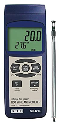 Reed Digital Thermo-Anemometer with Hot-Wire Probe and Data Logger