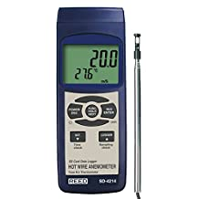 Reed SD-4214 Digital Thermo-Anemometer with Hot-Wire Probe and Data Logger, 0.2 to 25.0 m/s Velocity, 0 to 50° C Temperature Range