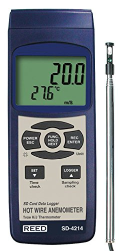 Air Velocity Probe - REED Instruments SD-4214 SD Series Hot Wire Thermo-Anemometer, Datalogger, w/Temperature