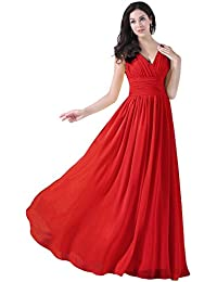 Bridesmaid Dresses Long Chiffon Prom Dress Pleated V Neck Formal Gown