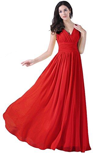Asbridal Robes De Demoiselle D'honneur De V Cou Rouge Longue Robe De Bal Formelle Du Soir En Mousseline De Soie