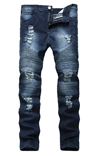 NITAGUT Men's Ripped Destroyed Distressed Slim Fit Jeans Biker Jeans Dark Blue US 40 (Slim Fit Jeans Ripped Men)