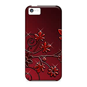 Protective Cases With Fashion Design For Iphone 5c (hd Dark Flowers)
