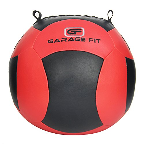 Soft Medicine Ball / Wall Ball / Wallball Plyometrics, Core Training, Cardio Workouts - Ideal for Wall Balls Squats, Lunges, Partner Toss, Slam (Red/Black, 10 lb - 4.5 kg)