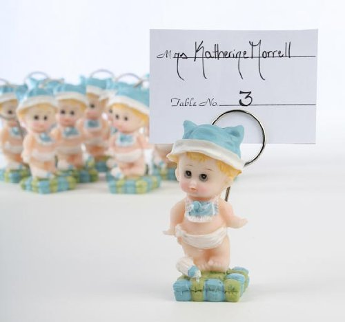 Box of 12 Resin Baby Boy Placecard Holders - For Baby Sho...