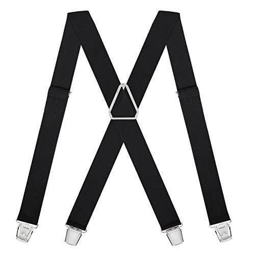HDE X-Back Suspenders for Men Adjustable Clip-On Elastic Shoulder Strap Braces (Black, 42 inches)
