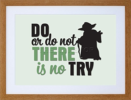 9x7 '' DO OR NOT NO TRY YODA QUOTE FRAMED ART PRINT PICTURE