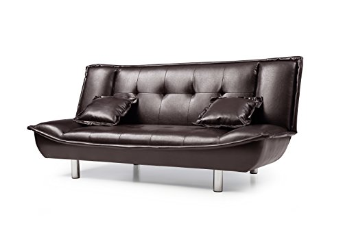 Brown Hodedah HIM01 Import Sofa Bed with Cup Holder