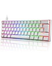 UK Layout 60% Mechanisch Gaming Toetsenbord Type C Bedraad 61 Toetsen LED Backlit USB Waterdicht Toetsenbord 14 Chroma RGB Backlight Volledige Anti-ghosting Toetsen (Wit/Blauwe Schakelaar)