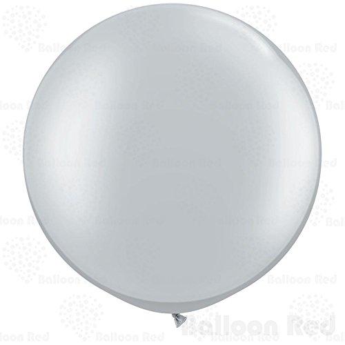 Giant Shape (18 Inch Giant Jumbo Latex Balloons (Premium Helium Quality), Pack of 12, Round Shape - Metallic Silver)