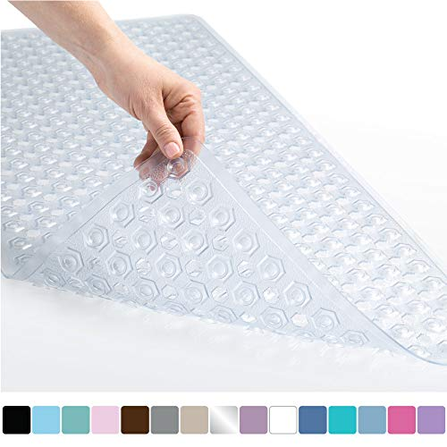 Gorilla Grip Original Patented Bath, Shower, Tub Mat, 35x16, Machine Washable, Antibacterial, BPA, Latex, Phthalate Free, Bathtub Mats with Drain Holes, Suction Cups, XL Size Bathroom Mats, Clear (Baby Resistant Mat Mold Bath)