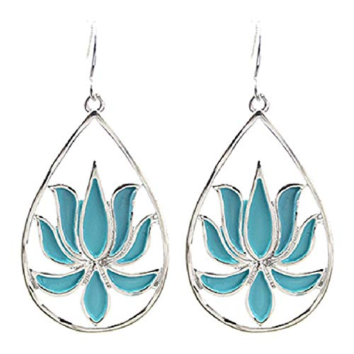 Silver Finish Large Aqua Blue Enamel Open Teardrop Lotus Flower Drop Earrings 1.75