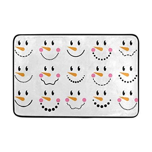 KeepSports Door mat Collection of Cute Snowman Faces Doormat Indoor/Outdoor Washable Garden Office Door Mat,Kitchen Dining Living Hallway Bathroom Pet Entry Rugs with Non Slip Backing]()