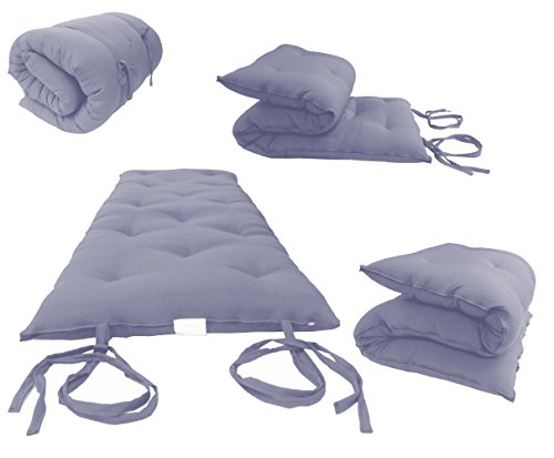 Mat Queen (Brand New Queen Size Gray Traditional Japanese Floor Futon Mattresses, Foldable Cushion Mats, Yoga, Meditaion 60