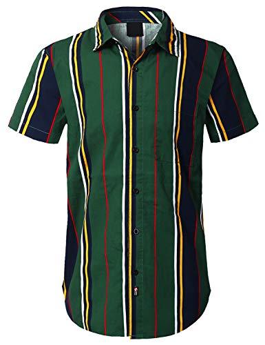 (URBANCREWS Mens Hipster Hip Hop Vertical Stripe Button Down Shirt Green, L)
