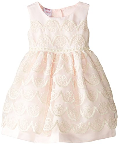 Blueberi Boulevard Baby Girls' SL Lace Overlay Satin Beaded Dress, Pink, 3-6 Months]()
