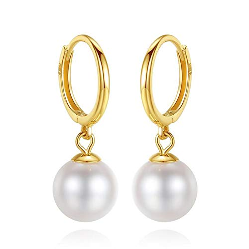 18k Yellow Gold Earring Quality Round 6.5-7mm Cultured Freshwater Pearl Drop Earrings for Women Wife Girls