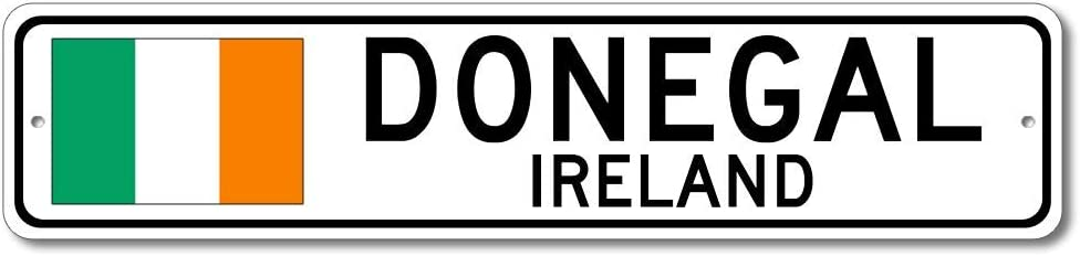 Donegal, Ireland - Irish Flag Street Sign - Metal Novelty Sign, Gift Sign, Man Cave Street Sign, Ireland City Sign, Irish Pub and Bar Wall Decor, Made in USA - 4x18 inches