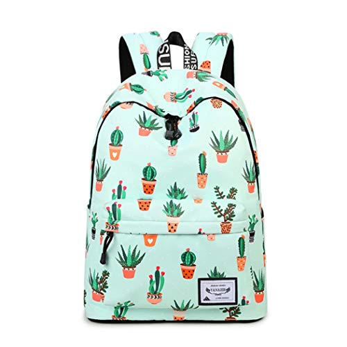 ure Cactus Backpack for Girls Teenage Waterproof Cute Lightweight Backpack Purse Floral Print Canvas Daypack Casual Travel School Bookbags for women ()