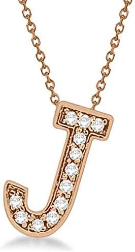 Colgantes de diamantes de la A a la Z Letras iniciales Collares en un sólido 14k Joyas personalizadas minimalistas hechas a mano de oro rosa