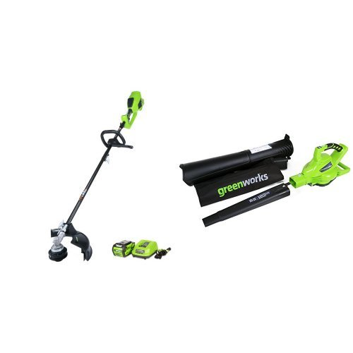 GreenWorks DigiPro G-MAX 40V Cordless String Trimmer and Blower/Vac, 4Ah Li-Ion Battery by Greenworks