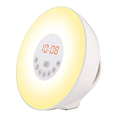 Wake-up Light, Sunrise Sunset Simulation Alarm Clock Night Emotion Touch Control Light, 6 Colors Atmosphere Lamp, 10 Brightness Bedside Lamp with 6 Natural Sounds , FM Radio and USB Charger