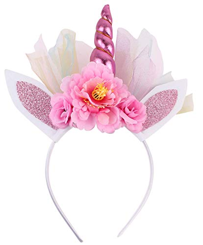 (Unicorn Headband for Girls Pink Red Horn Ears Birthday Outfit Set Toddlers Horn Flowers Headwear Accessory for Party Decoration Cosplay)