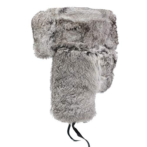 IFSUN Mens Winter Real Rabbit Fur Aviator Hat Russian Ushanka Hats (Medium/21-22in, Grey)