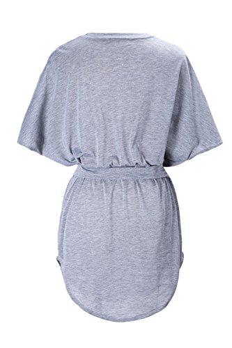 Las Mujeres Camisa Tops Manga Murcielago Suelto Una Linea Mini Vestido De Playa Grey