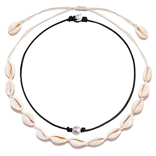 Long tiantian Women Puka Shell Necklace Bracelet 2 Pcs Set Adjustable Leather Anklet Hawaii Beach Choker Jewelry for Girls (Shell Pearl Set 1) (Shell Pearl)