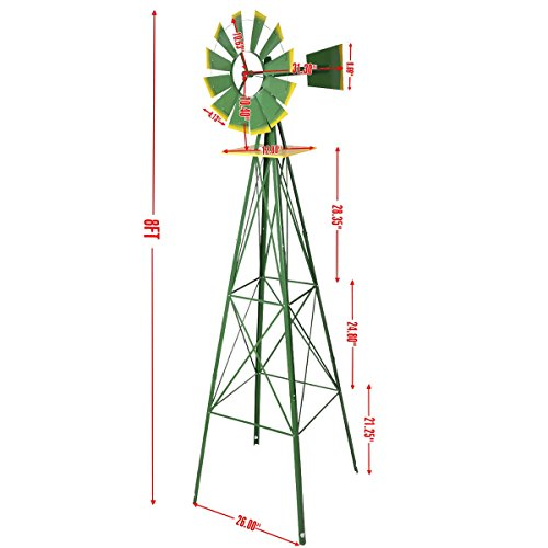 8Ft Tall Windmill Ornamental Wind Wheel Green And Yellow Garden Weather Vane - A Durable Gray Powder-Coat Finish With Red Trimmed Blades Will Keep This Lawn Favorite Looking Great For Years To Come. ()