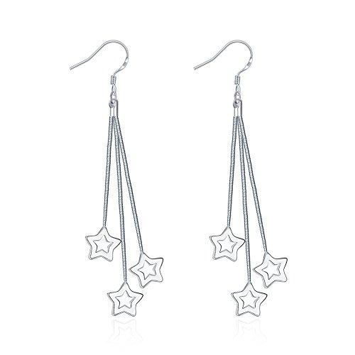 Dangle Star Earrings Women's Beaded Tassel Earrings Long Fringe Drop Earrings