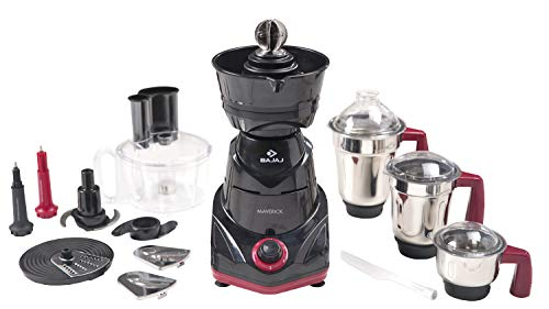 Bajaj Maverick 750-Watt Mixer Grinder with 3 Jars, Food Processor Bowl and Coconut Scraper