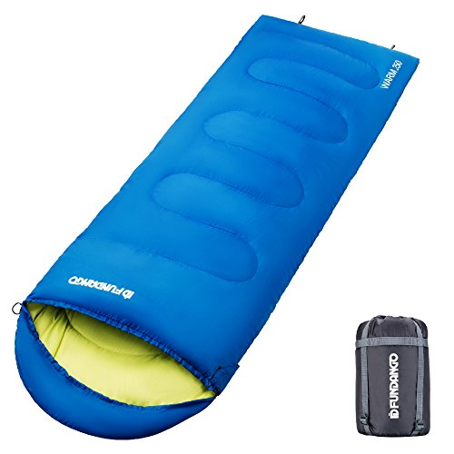 FUNDANGO 3 Season Warm Cool Weather Camping Hiking Backpacking Lightweight Sleeping Bags for Adults Men Women 53.6F - 44.5F, Waterproof, Compression Sack Included, Blue Left